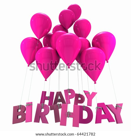 3D rendering of a group of balloons with the words happy birthday hanging from the strings in pink shades - stock photo