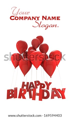 3D rendering of a group of balloons with the words happy birthday hanging from the strings in red shades  - stock photo