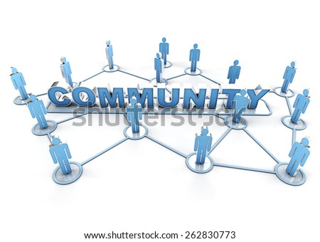 3D rendering of a group of interconnected people around the word community - stock photo