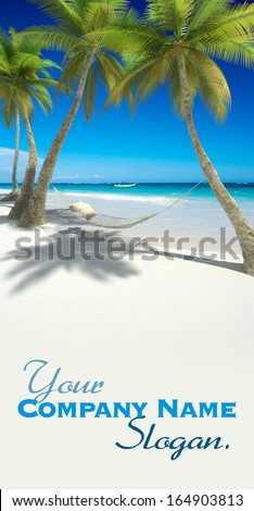 3D rendering of a hammock with cushions hanging from palm trees on a tropical beach - stock photo