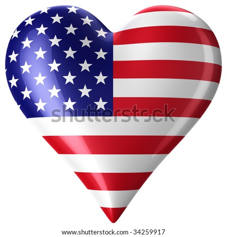 3d rendering of a heart with american flag - stock photo