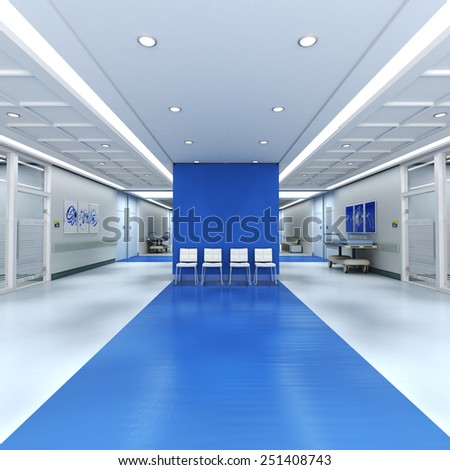 3D rendering of a hospital interior with lots of copy space - stock photo