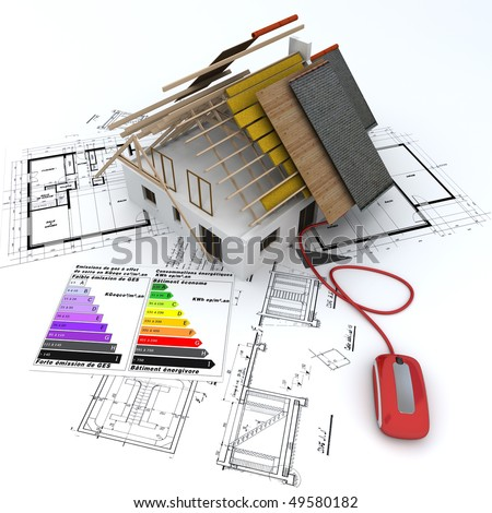 3D rendering of a house in construction, connected to a computer mouse,  on top of blueprints, with and energy efficiency rating chart - stock photo