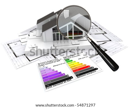 3D rendering of a house, on top of blueprints, with and energy efficiency rating chart and a magnifying glass - stock photo