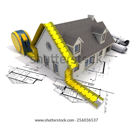 3D rendering of a house with a tape measure on top of blueprints - stock photo