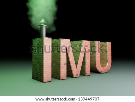 3d rendering of a imu text made of bricks with a smoking chimney(IMU is the new italian tac on properties) - stock photo