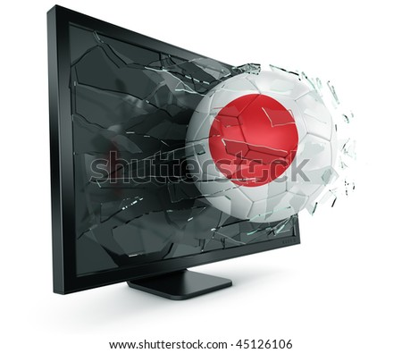 3d rendering of a Japanese soccerball breaking through monitor - stock photo