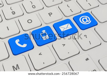 3d rendering of a keyboard with four blue keys button and contacting symbols - contact us.  - stock photo