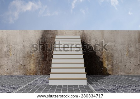 3d rendering of a ladder in a wall, concept of growth and progress - stock photo