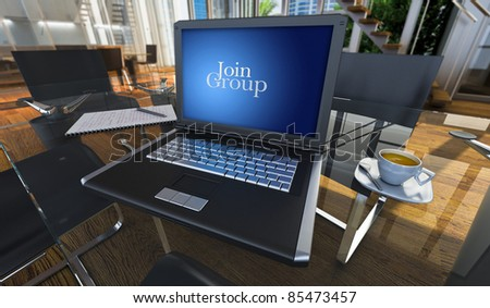 3D rendering of a laptop in a modern office with the words join group written on the screen - stock photo