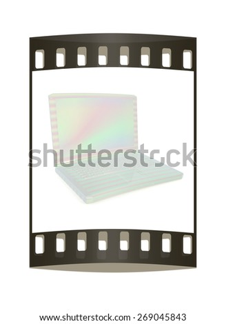 3d rendering of a laptop. The film strip - stock photo