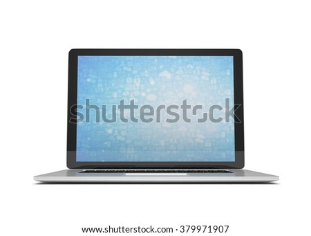 3d rendering of a laptop with blue wallpaper with app icon - stock photo