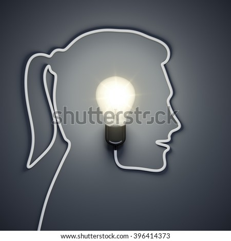 3d rendering of a light bulb inside a female head  - stock photo