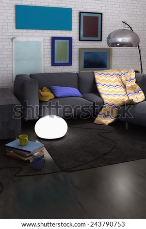 3D rendering of a living room interior render with sofa, ottoman, blanket, pillows, lamps and colorful pictures on white painted brick wall - stock photo