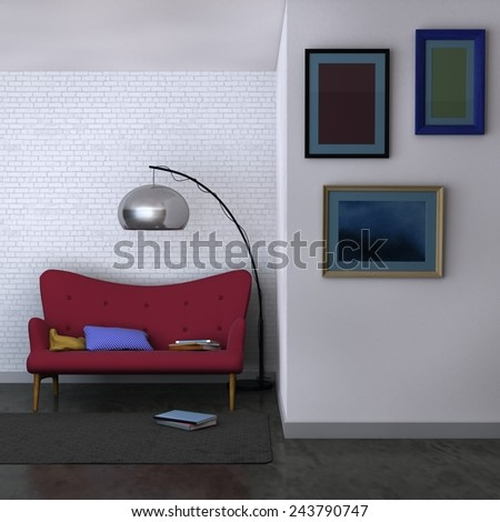 3D rendering of a living room interior with simple modern velvet sofa and lamp in the back, and small living room gallery with three blank framed pictures hanged on a front wall - stock photo