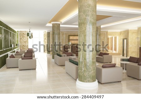 3d rendering of a lobby bar interior design - stock photo