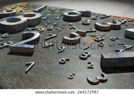 3d rendering of a lot of numbers over a rusty surface - stock photo