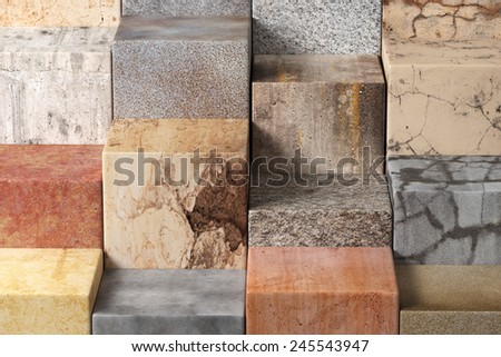 3d rendering of a lot of textured stones cubes - stock photo
