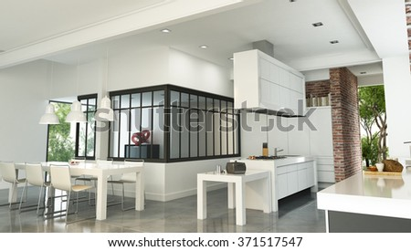 3D rendering of a luxurious industrial style interior with a magnificent integrated kitchen  - stock photo