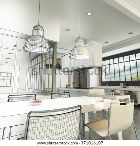 3D rendering of a luxurious industrial style loft showing wireframe - stock photo