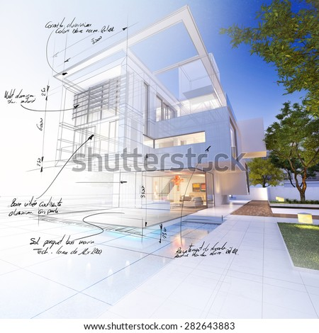 3D rendering of a luxurious villa contrasting with a technical draft part. with scribbled notes indicating construction materials: aluminum, stone, and mesurements - stock photo