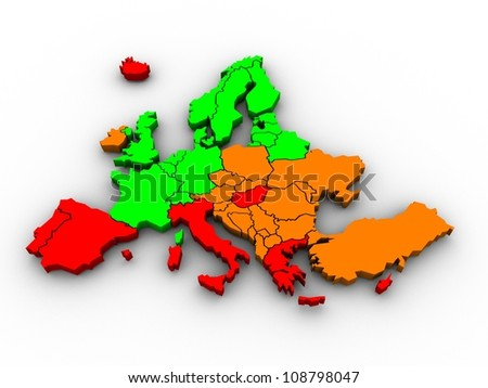 3d rendering of a map of Europe in bright colors - stock photo