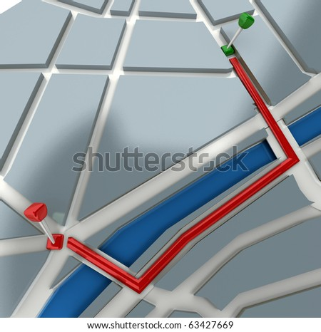 3D rendering of a map with an itinerary - stock photo