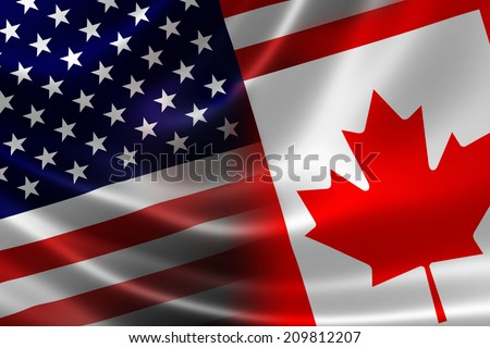 3D rendering of a merged Canadian and USA flag on satin texture. Concept of the mutually influential relations between the two countries politically and economically. - stock photo