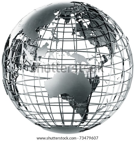 3d rendering of a metal globe showing Australia - stock photo