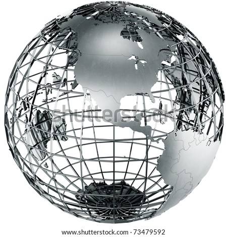 3d rendering of a metal globe showing North america - stock photo