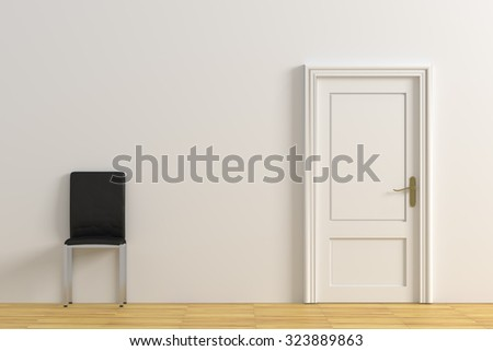 3d rendering of a minimalism room with a door and a chair - stock photo