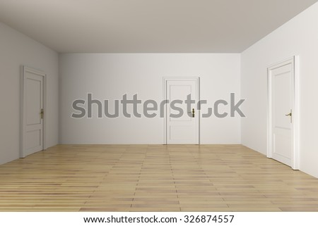 3d rendering of a minimalism room with some doors - stock photo