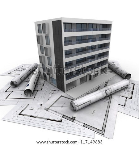 3D rendering of a modern apartment building on top of blueprints - stock photo