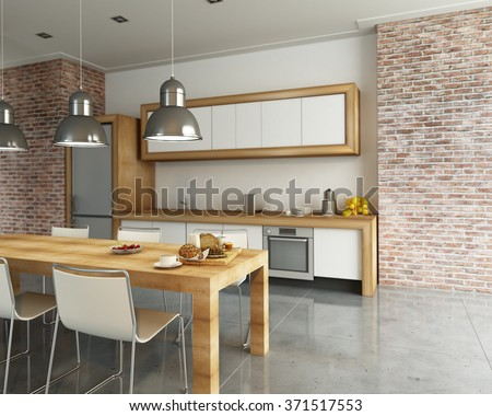 3D rendering of a modern industrial style kitchen - stock photo