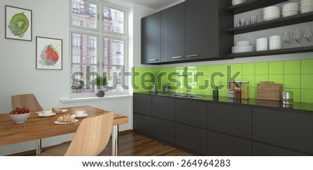 3d rendering of a modern kitchen kitchen in black. - stock photo