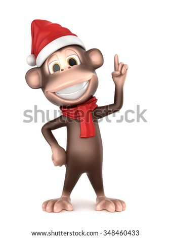 3d rendering of a monkey in christmas hat pointing up - stock photo