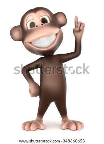 3d rendering of a monkey pointing up - stock photo