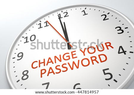 3D rendering of a nice clock with text change your password - stock photo