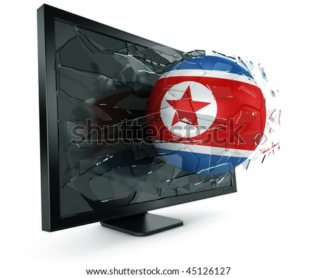 3d rendering of a North Korean soccerball breaking through monitor - stock photo