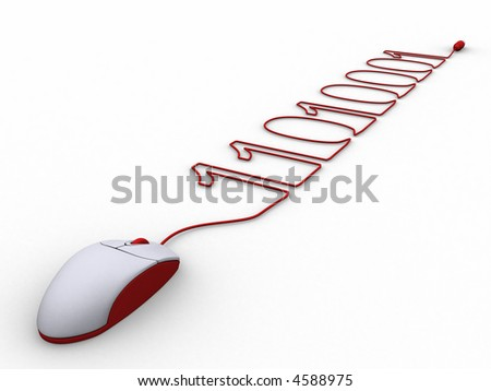 3d rendering of a pc mouse cable creating binary. A clipping path is included for easy editing. - stock photo