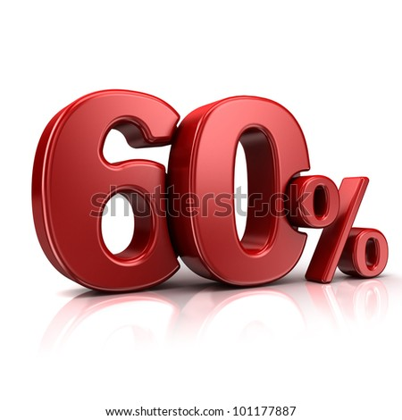 3D rendering of a 60 percent in red letters on a white background - stock photo