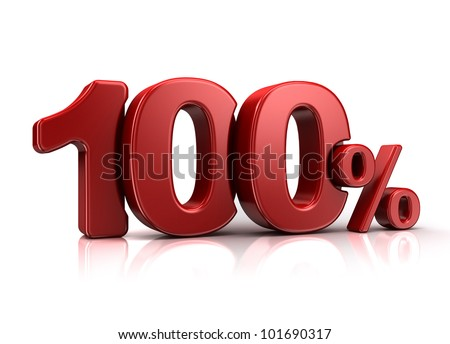 3D rendering of a 100 percent in red letters on a white background - stock photo