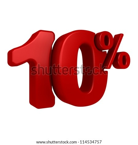 3D rendering of a 10 percent in red letters on a white background - stock photo