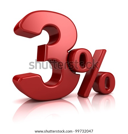3D rendering of a 3 percent in red letters on a white background - stock photo