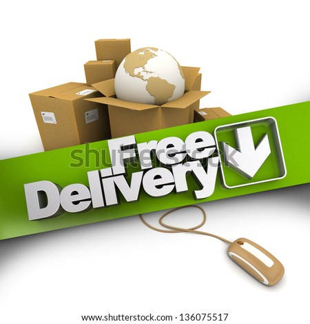 3D rendering of a pile of cartons with a world map connected to a computer mouse with a banner stating Free delivery - stock photo