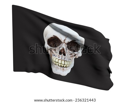 3d rendering of a pirate flag on a white background - stock photo