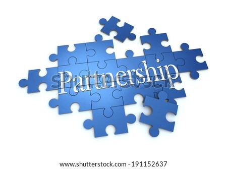 3D rendering of a puzzle with the word partnership - stock photo