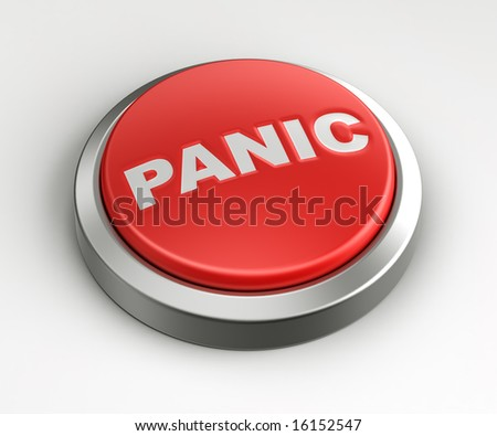 3d rendering of a red button with panic written on it. - stock photo