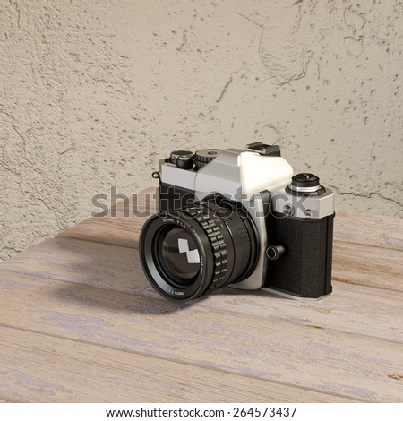3d rendering of a reflex analog camera on a table - stock photo