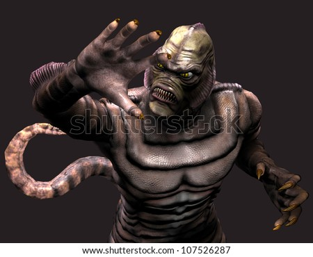 3d rendering of a reptilian monster in pose as illustration - stock photo